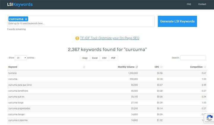 LSI Keywords herramienta de palabras clave