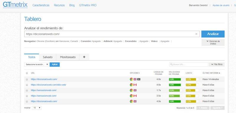 Configuración de GTmetrix para medir la velocidad de tu página web