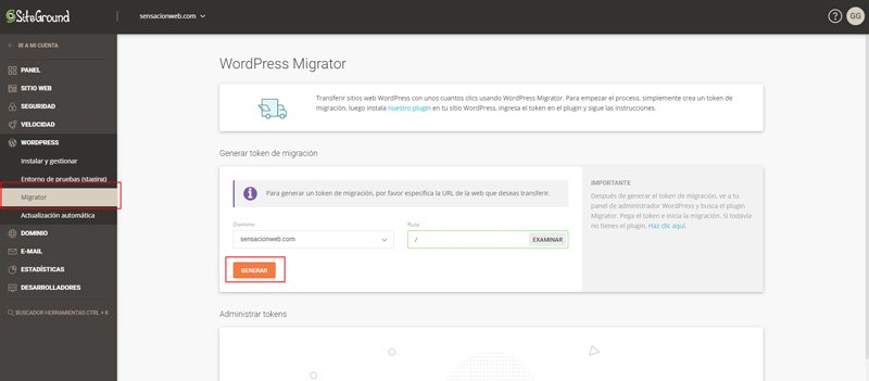 Generar token desde el panel del servidor de SiteGround para migrar la página web