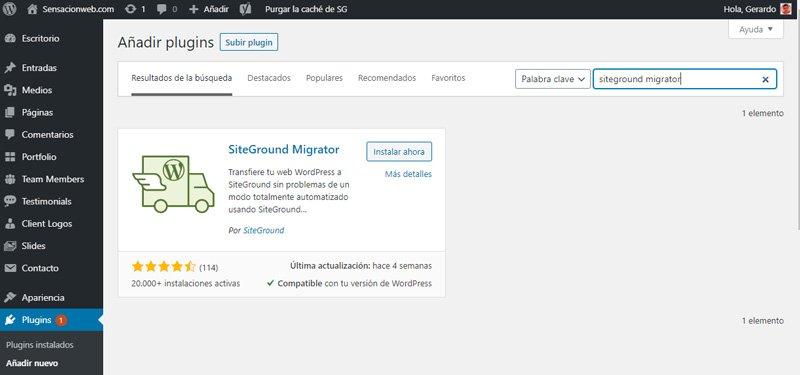 Instalar el plugin SiteGround Migrator