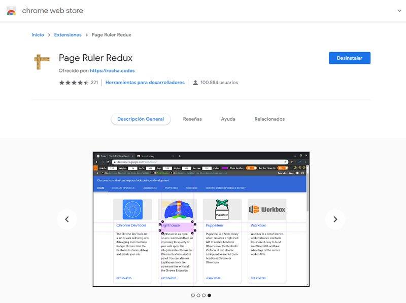 Page Ruler Regla para medir píxeles en la pantalla del ordenador