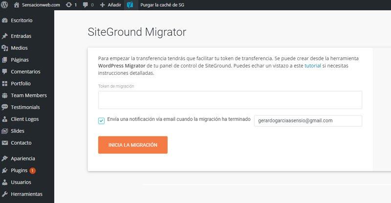 como migrar una página web a SiteGround