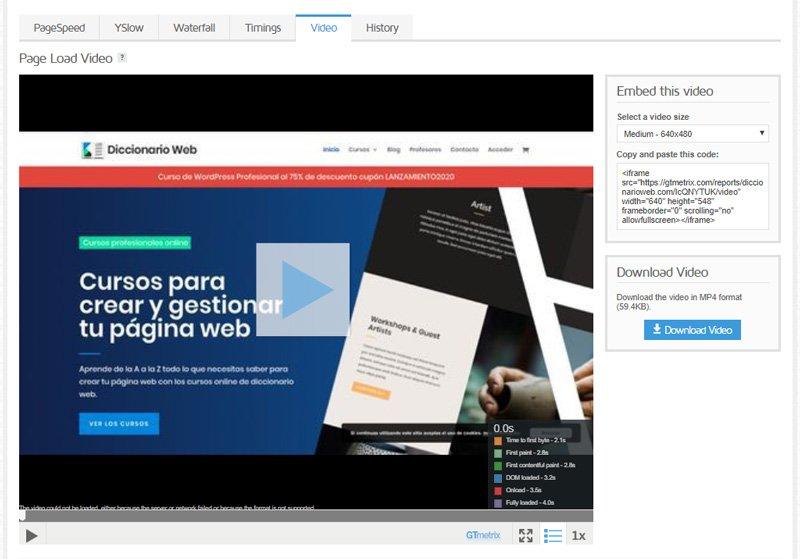 video de velocidad de carga de la página web de GTmetrix
