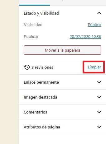 borrar todas las revisiones de WordPress de una sola entrada