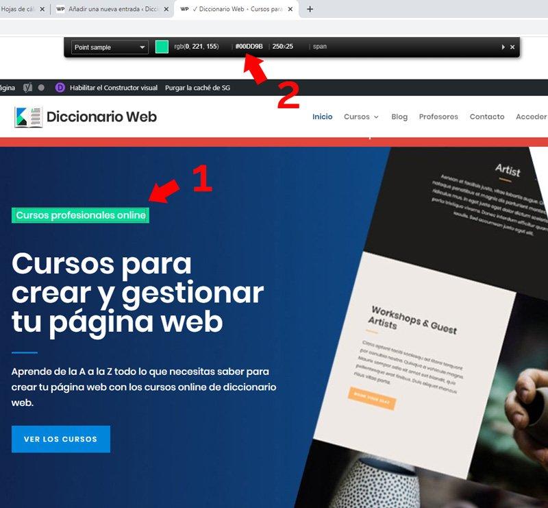 Código de color hexadecimal de una página web con colorzilla