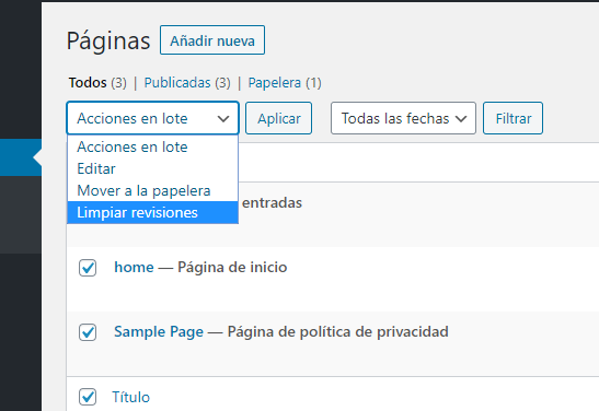 eliminar todas las revisiones de WordPress en bloque