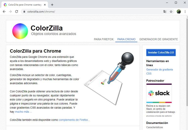 Extensión Colorzilla para averiguar el color de una página web