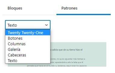 WordPress 5.6 - selector de patrones