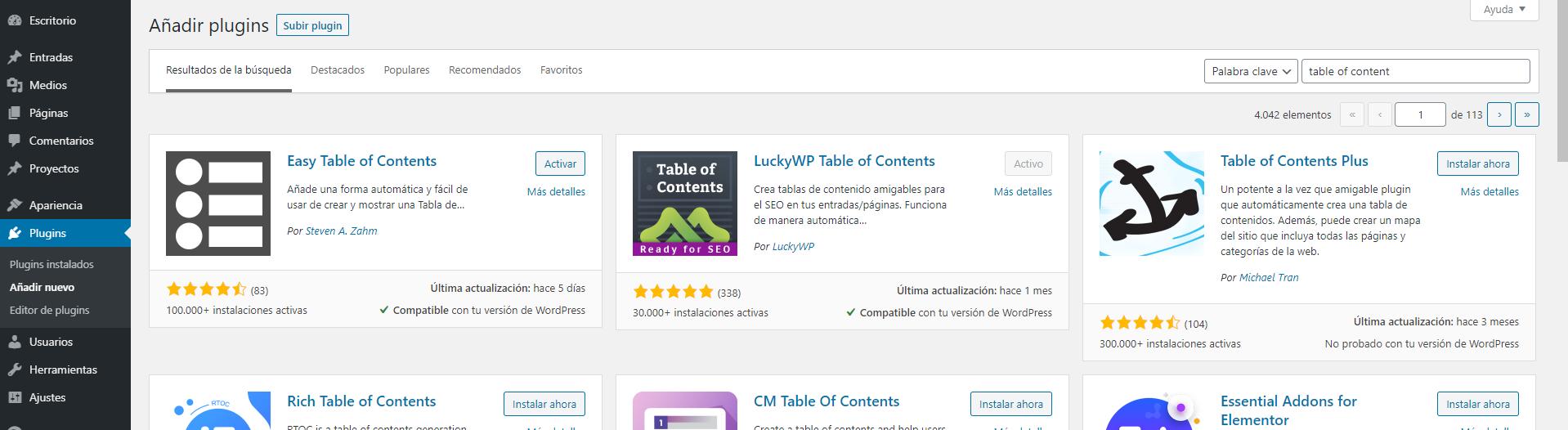 instalando los mejores plugin para poner una tabla de contenidos en wordpress