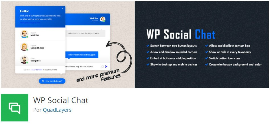 wp social chat para poner un chat de whatsapp en wordpress