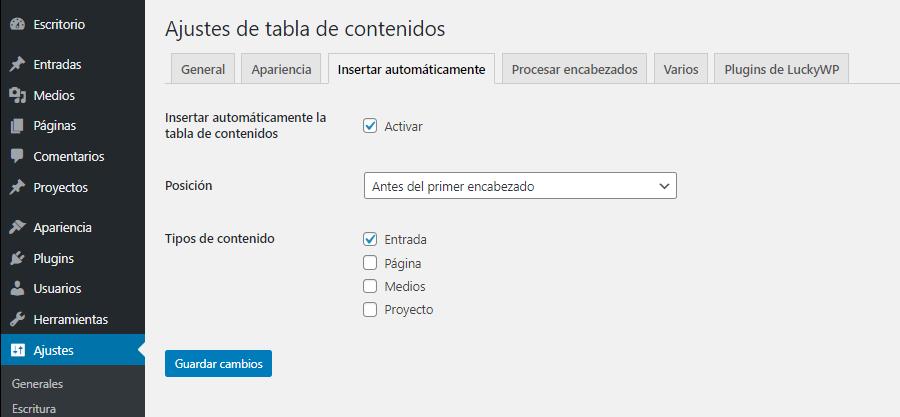 poner una tabla de contenidos automáticamente en wordpress en las entradas antes del primer titulo